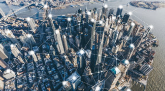 blockchain concept of digital city of manhattan