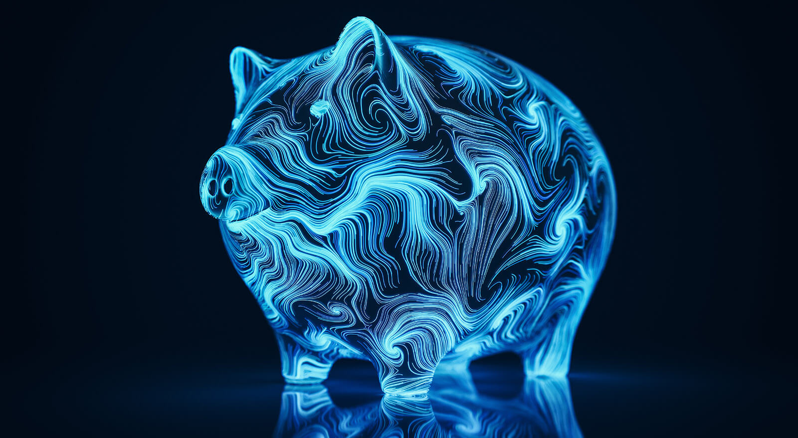 Abstract digital piggy bank