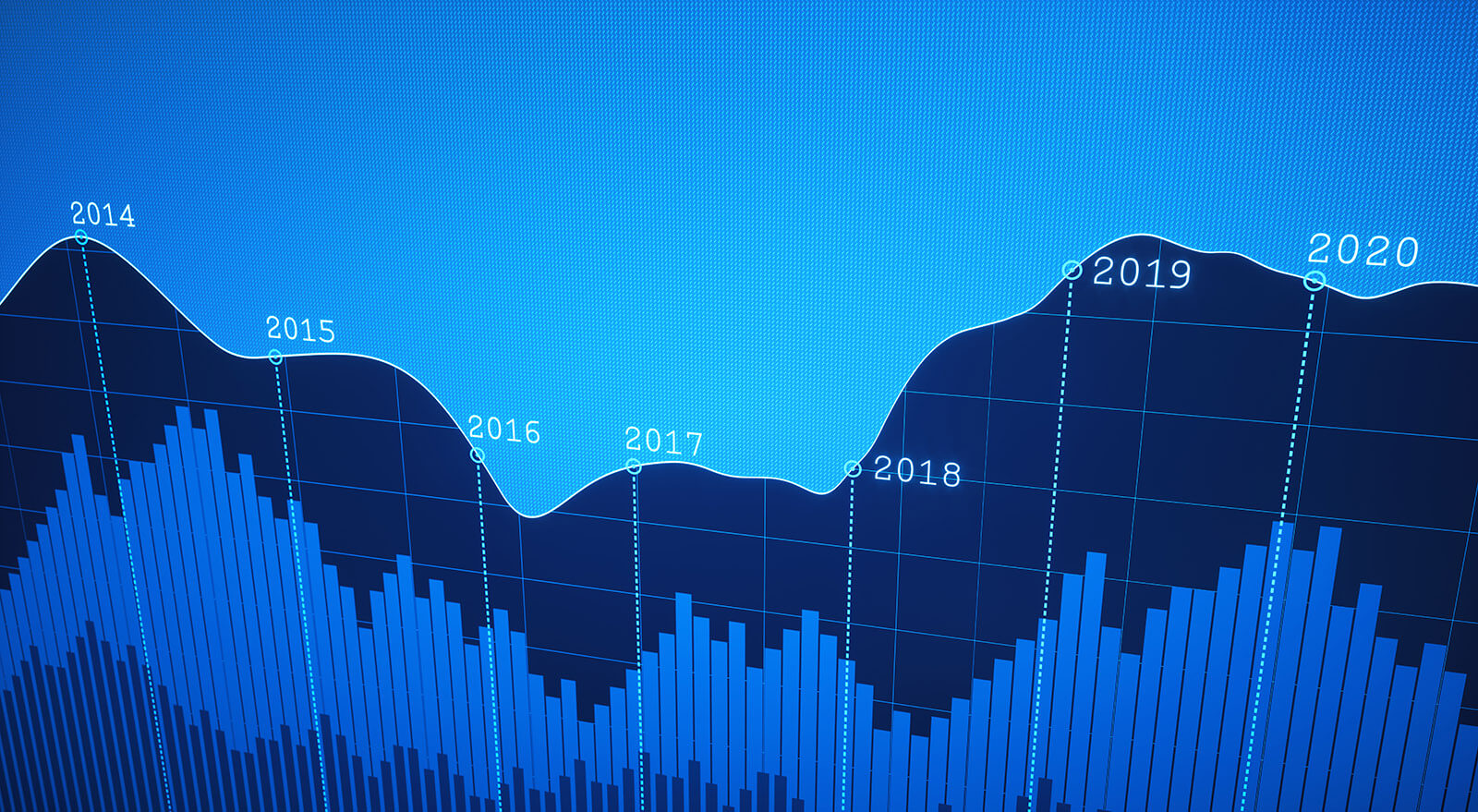 A simple financial report showing a graph line plotted on a dark blue pixelated background.
