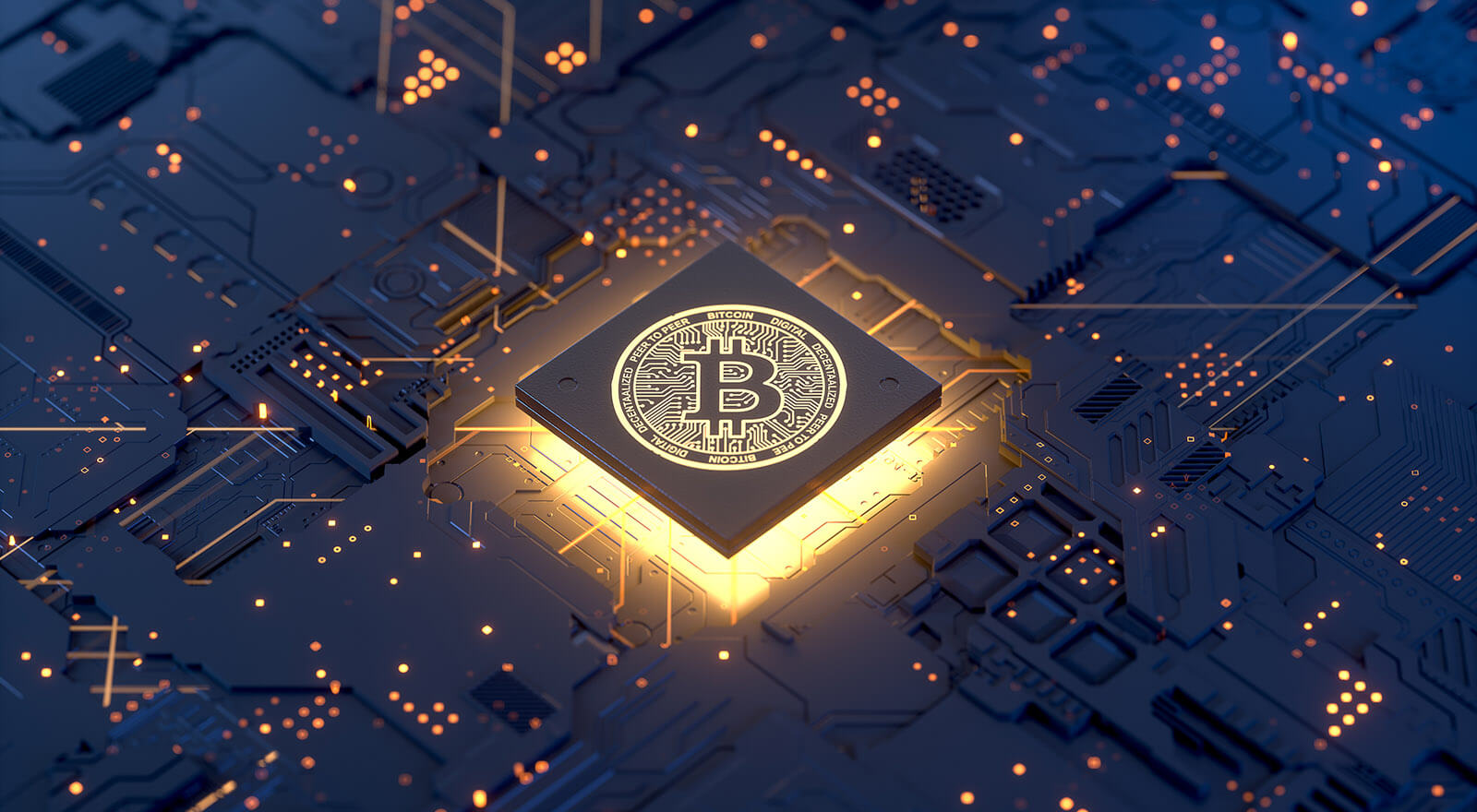 Bitcoin on motherboard, 3d rendering,conceptual image.