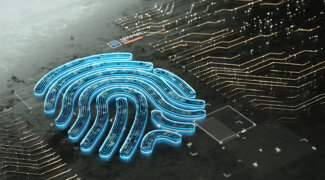 Digital generated image of glowing glass fingerprint icon on black surface.