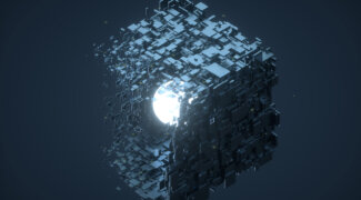 Digital generated image of Big cubic shape made out of small black cubes transforming into glowing sphere on dark blue background.