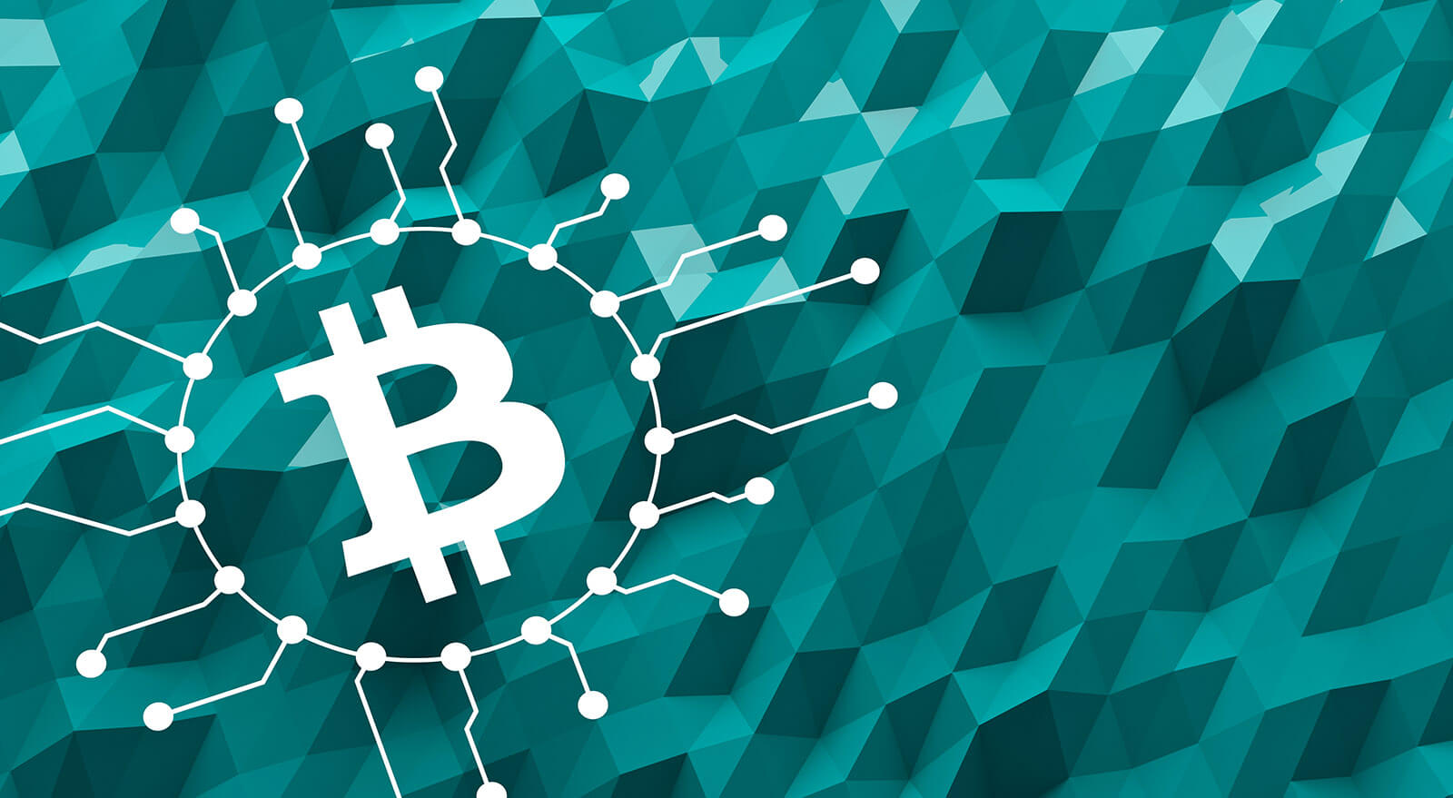 Bitcoin symbol on abstract green background